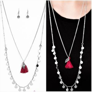BORN TO WANDER RED NECKLACE/EARRING SET